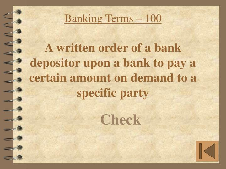 Banking Terms – 100