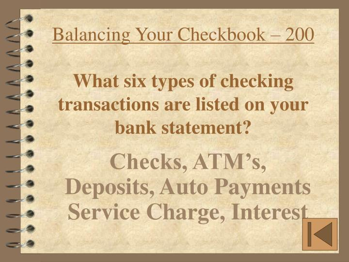 Balancing Your Checkbook – 200