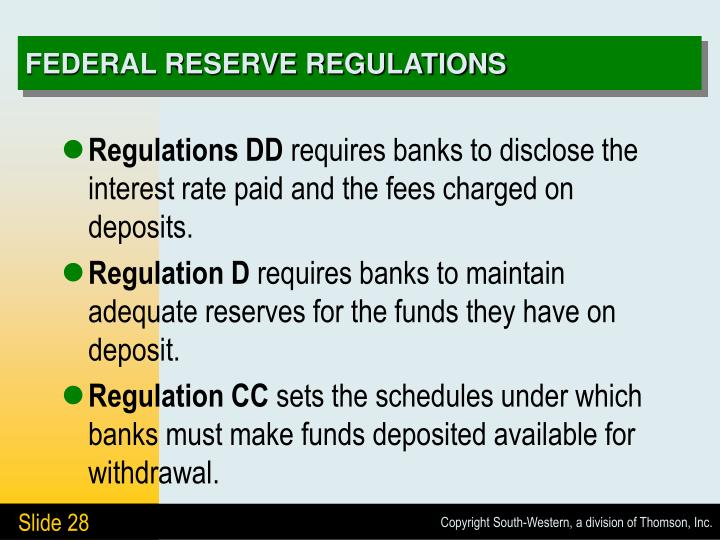 FEDERAL RESERVE REGULATIONS