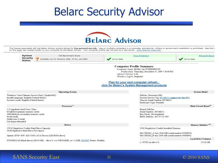 Belarc Security Advisor