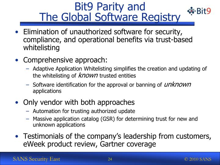 Bit9 Parity and