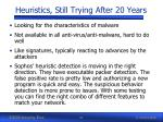 heuristics still trying after 20 years