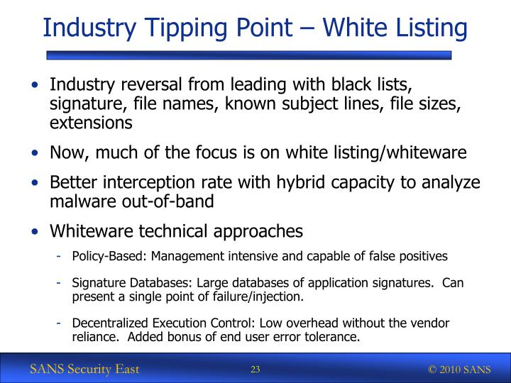 Industry Tipping Point – White Listing