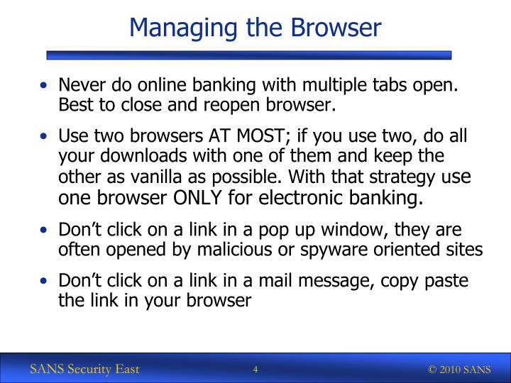 Managing the Browser