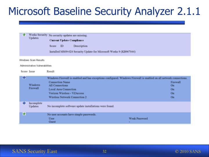Microsoft Baseline Security Analyzer 2.1.1