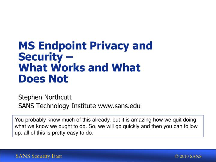 MS Endpoint Privacy and Security –
