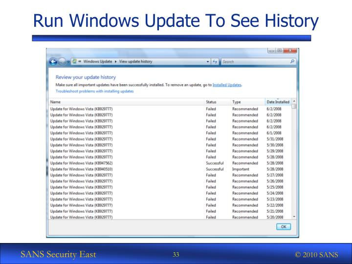 Run Windows Update To See History