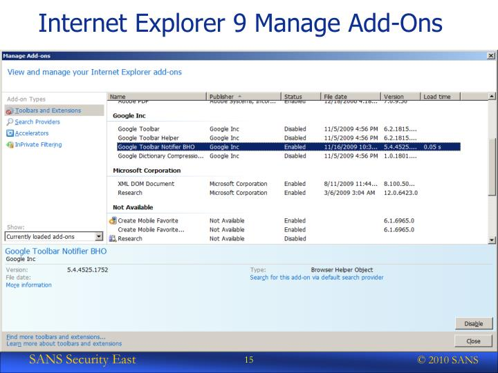 Internet Explorer 9 Manage Add-Ons