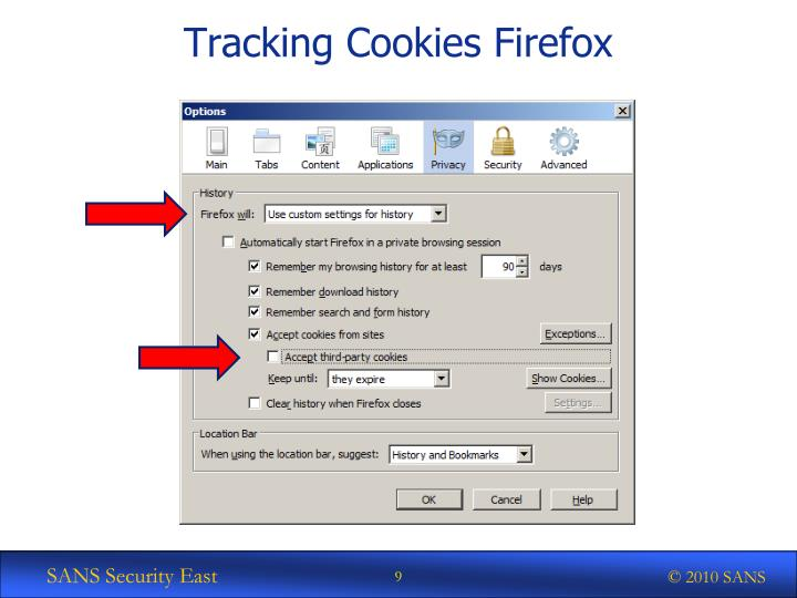 Tracking Cookies Firefox