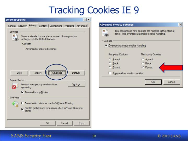 Tracking Cookies IE 9