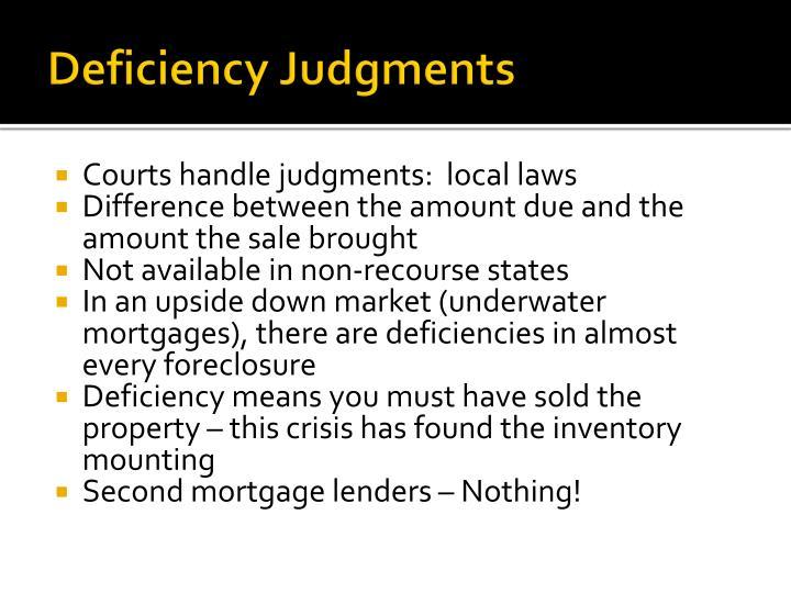 Deficiency Judgments