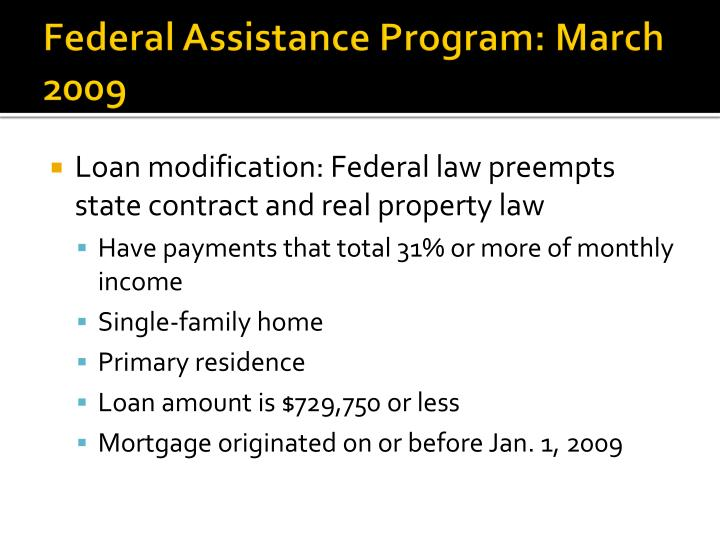 Federal Assistance Program: March 2009