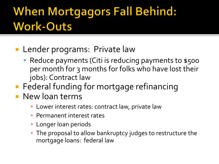 When Mortgagors Fall Behind:  Work-Outs
