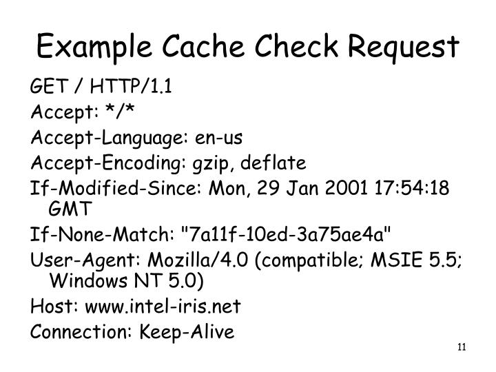 Example Cache Check Request