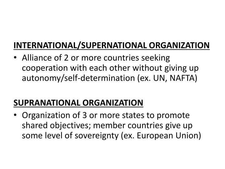 INTERNATIONAL/SUPERNATIONAL ORGANIZATION