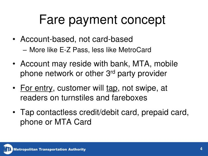 Fare payment concept