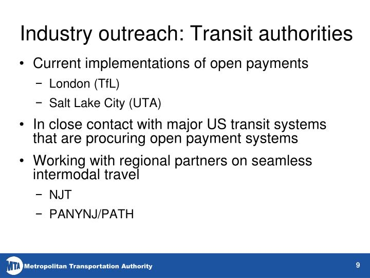 Industry outreach: Transit authorities