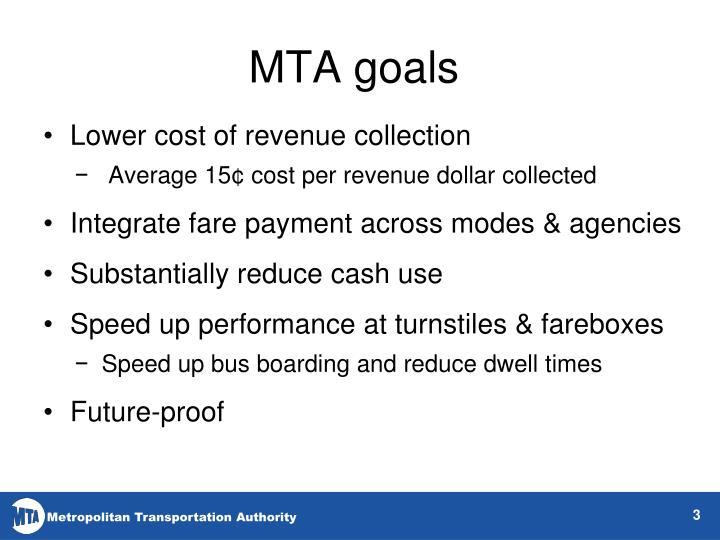 MTA goals