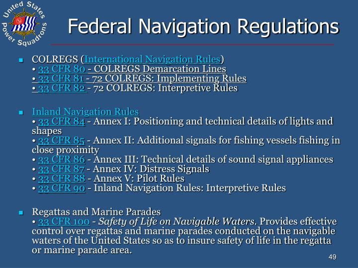 Federal Navigation Regulations
