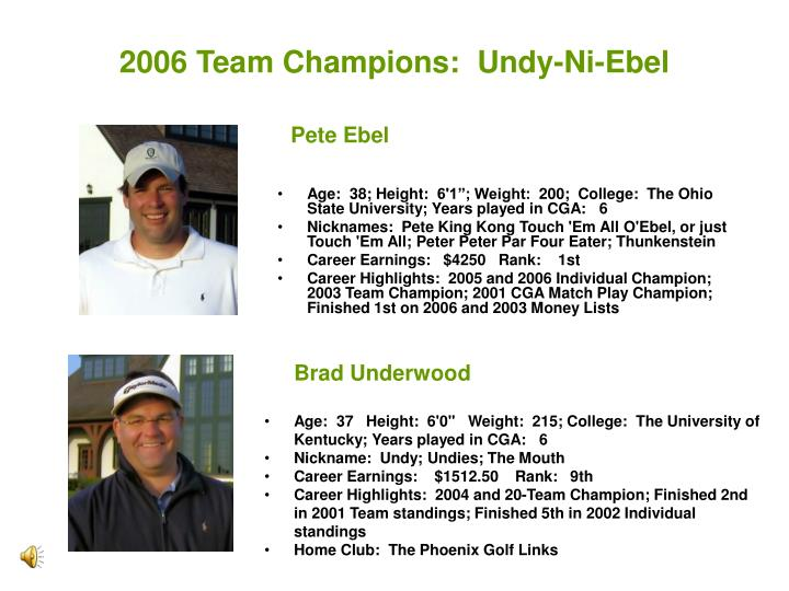 2006 Team Champions:  Undy-Ni-Ebel