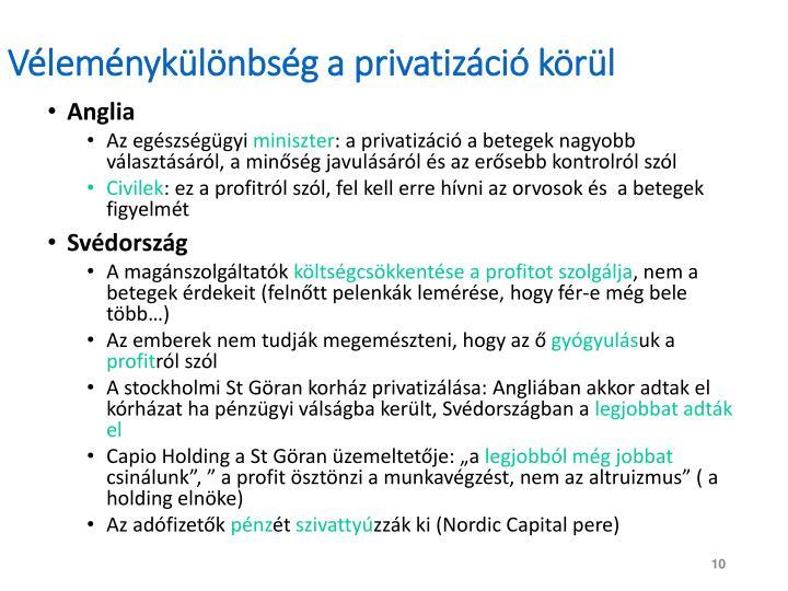 Véleménykülönbség a privatizáció körül