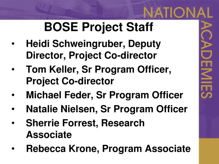 BOSE Project Staff