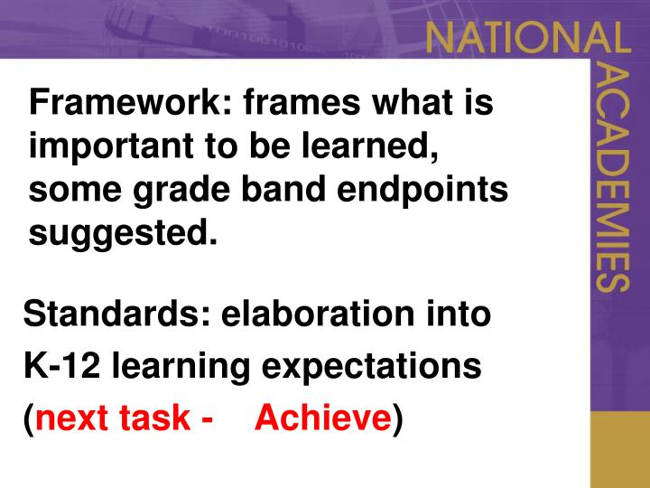 Framework frames what is important to be learned some grade band endpoints suggested