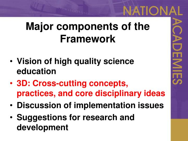 Major components of the Framework