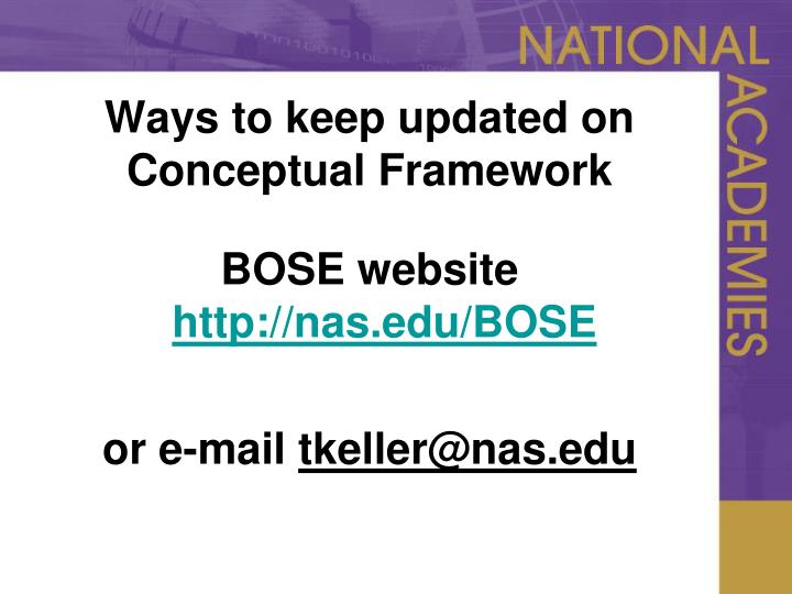 Ways to keep updated on Conceptual Framework