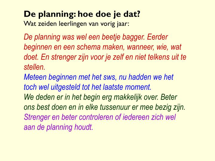 De planning: hoe doe je dat?