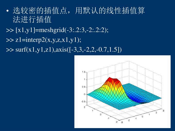 选较密的插值点,用默认的线性插值算法进行插值