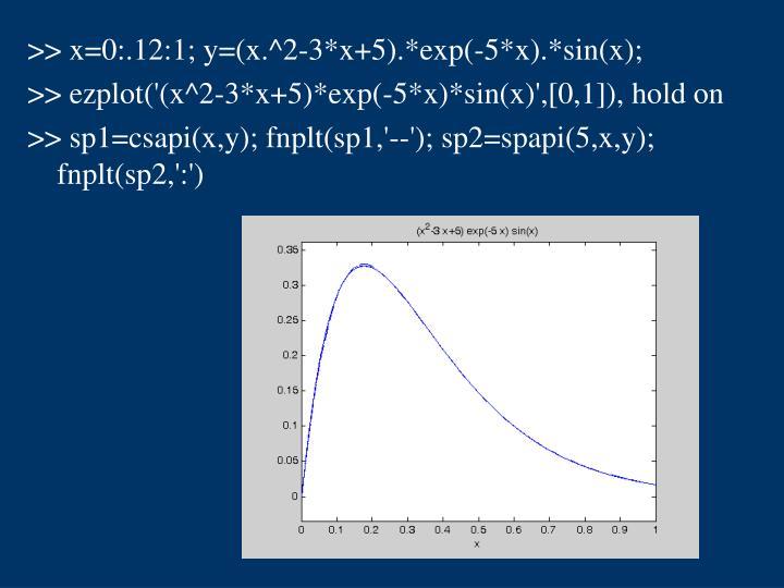 >> x=0:.12:1; y=(x.^2-3*x+5).*exp(-5*x).*sin(x);