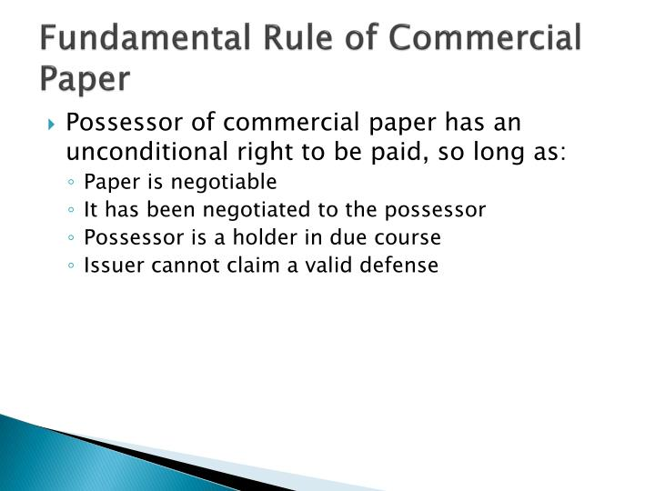 Fundamental Rule of Commercial Paper