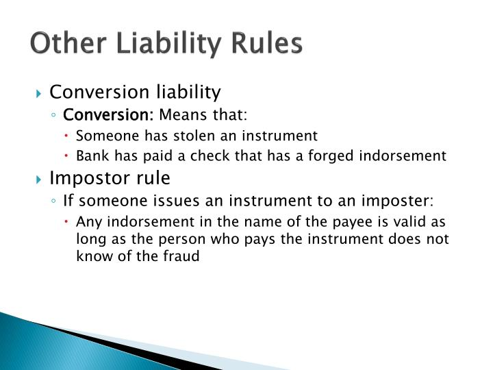 Other Liability Rules