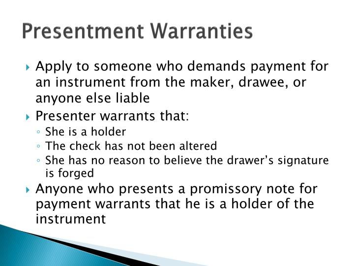 Presentment Warranties