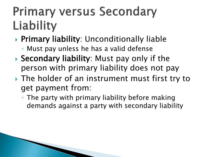 Primary versus Secondary Liability