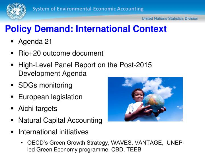 Policy demand international context