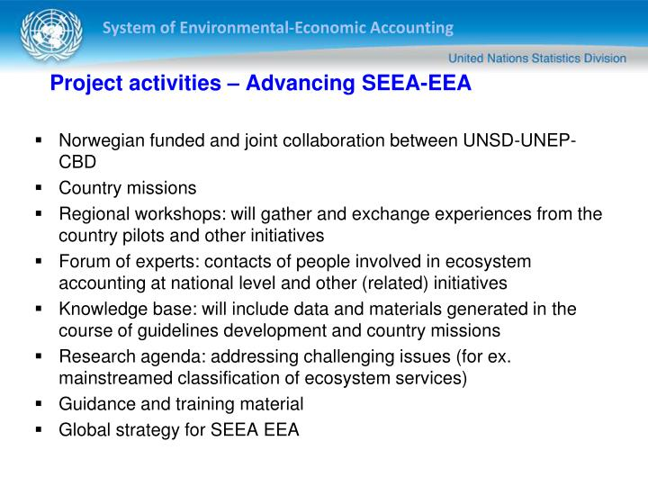 Project activities – Advancing SEEA-EEA