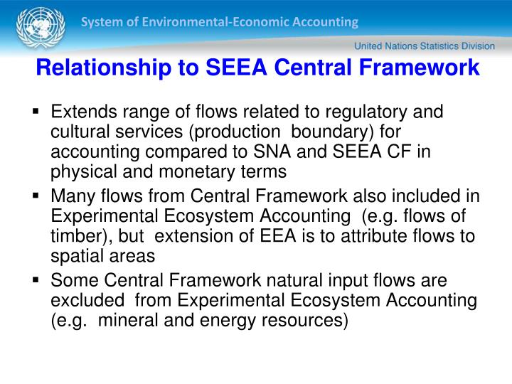 Relationship to SEEA Central Framework