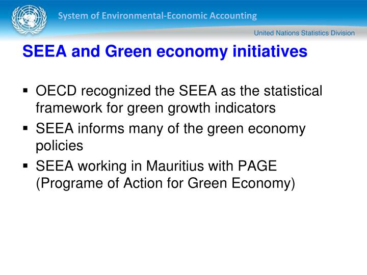 SEEA and Green economy initiatives