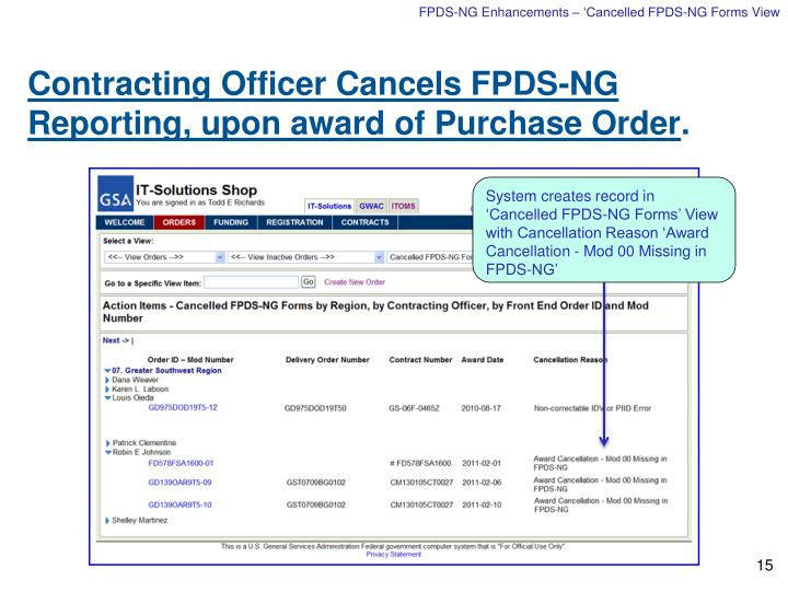 FPDS-NG Enhancements – 'Cancelled FPDS-NG Forms View