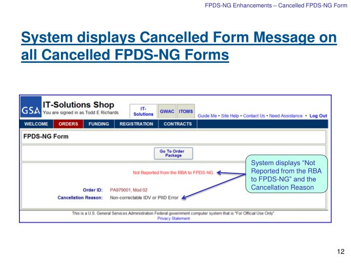 FPDS-NG Enhancements – Cancelled FPDS-NG Form