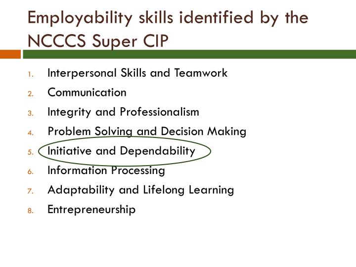 Employability skills identified by the NCCCS Super CIP