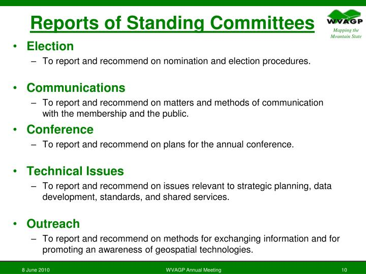 Reports of Standing Committees