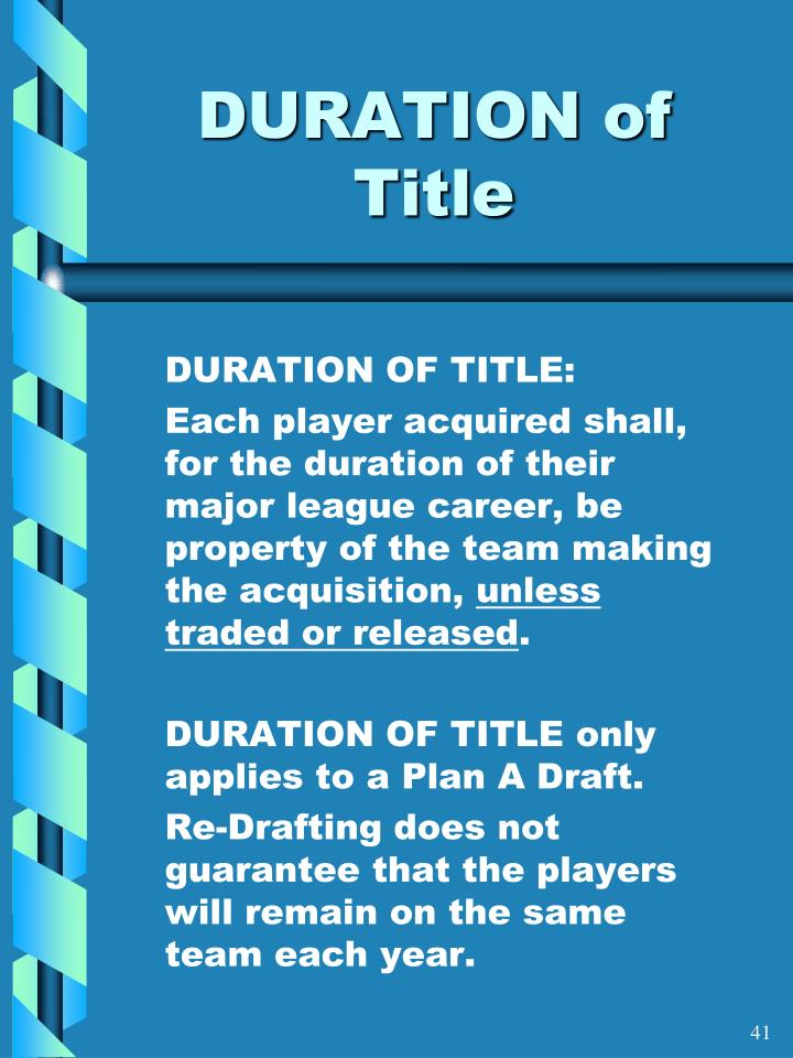 DURATION of Title