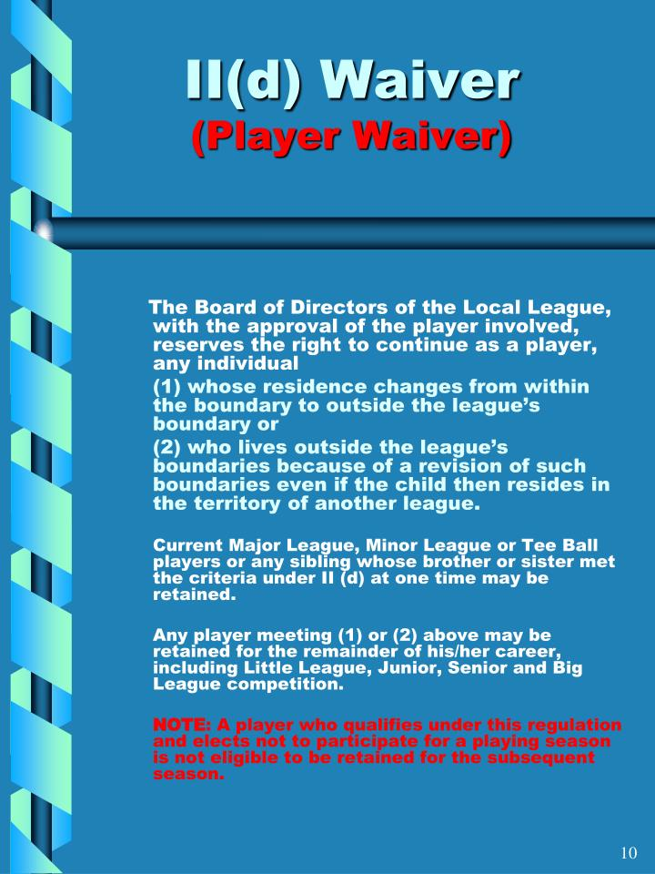 II(d) Waiver