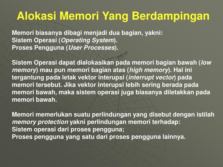 Alokasi Memori Yang Berdampingan