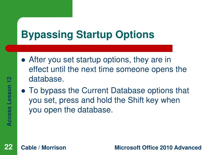 Bypassing Startup Options
