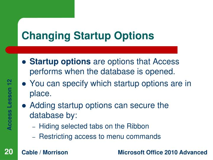 Changing Startup Options