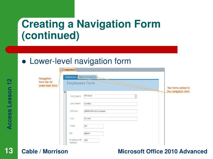 Creating a Navigation Form (continued)